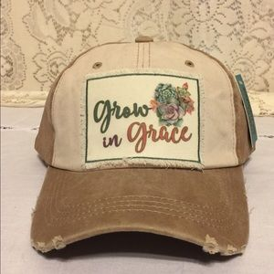 GROW IN GRACE Distressed Baseball Cap White Brown